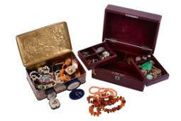 A collection of jewellery and costume jewellery in a