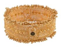 A gold coloured hinged bangle, the wide bangle composed