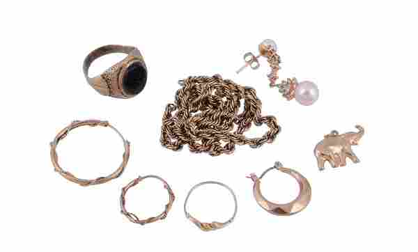 A small collection of gold coloured jewellery, to