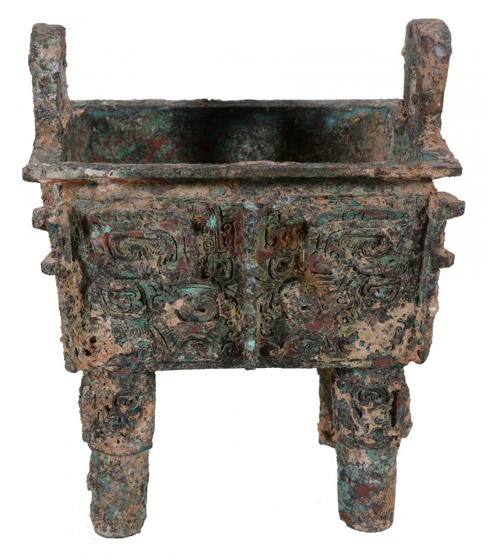 A Chinese Archaic-style bronze wine vessel , Fangding,