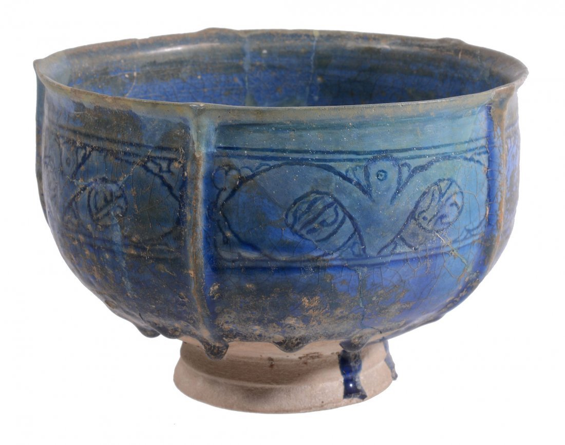 A Kashan Deep Bowl, 12th Century, the five lobed body