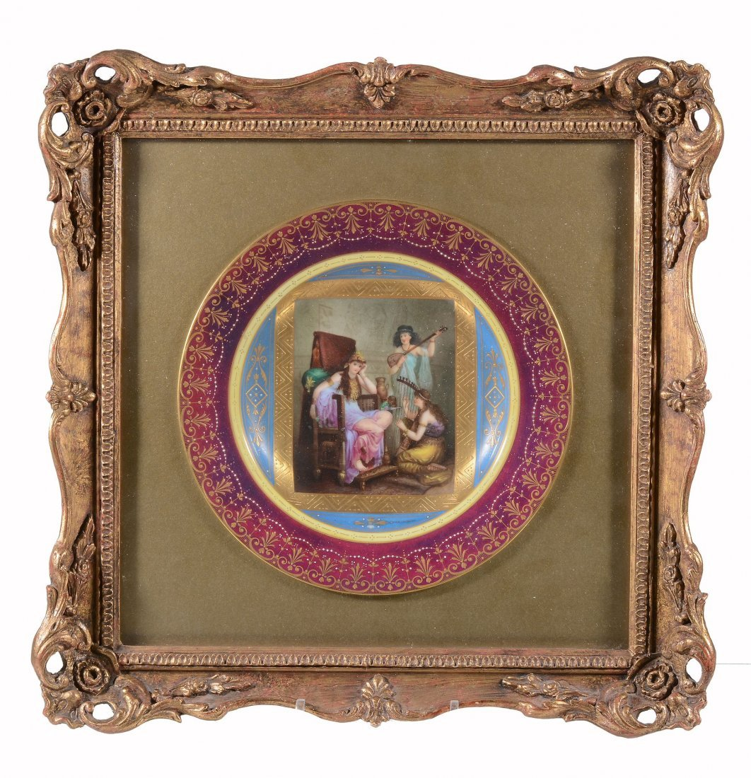 A Vienna-style cabinet plate, circa 1900, printed and