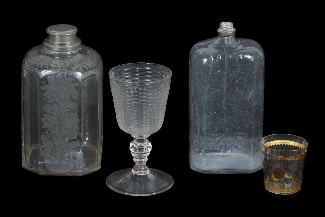 Four items of Bohemian/German glass, various dates 18th