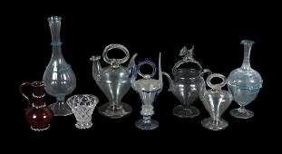 A selection of Spanish cantirs and other items of glass
