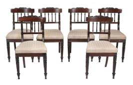 A set of six George IV Regency rosewood dining chairs ,