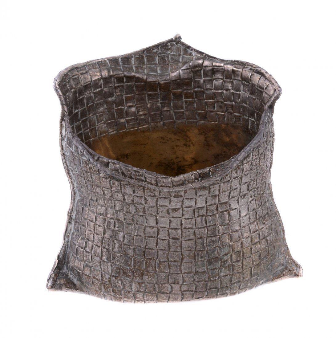 An Italian silver coloured trompe l'oeil small vase by