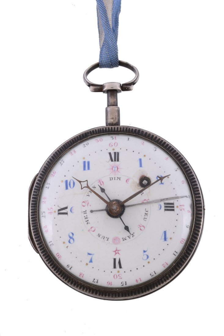 A French silver open face multiphase pocket watch,