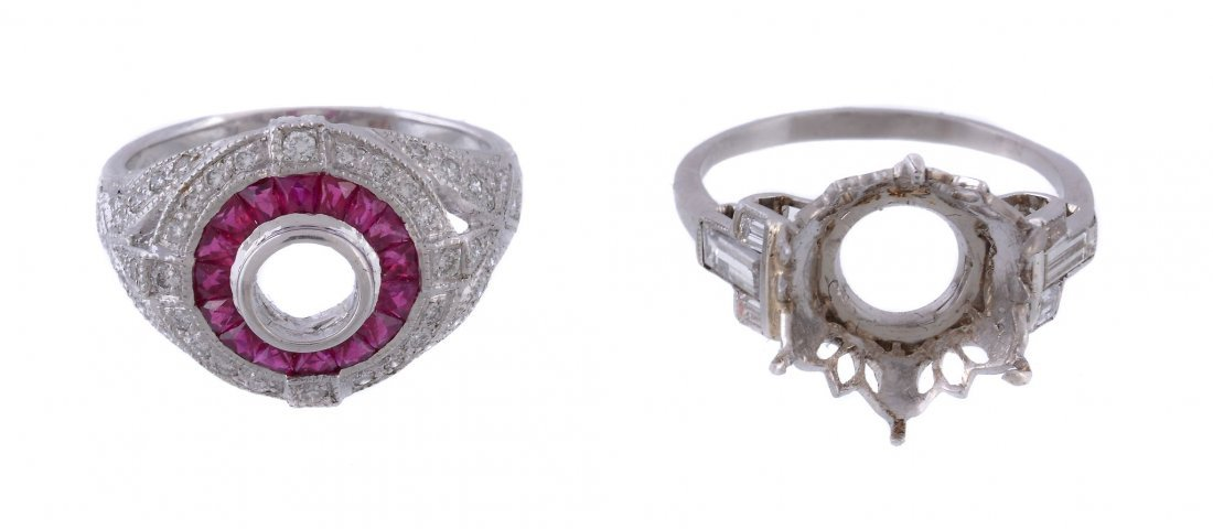 A ruby and diamond set ring setting, the vacant