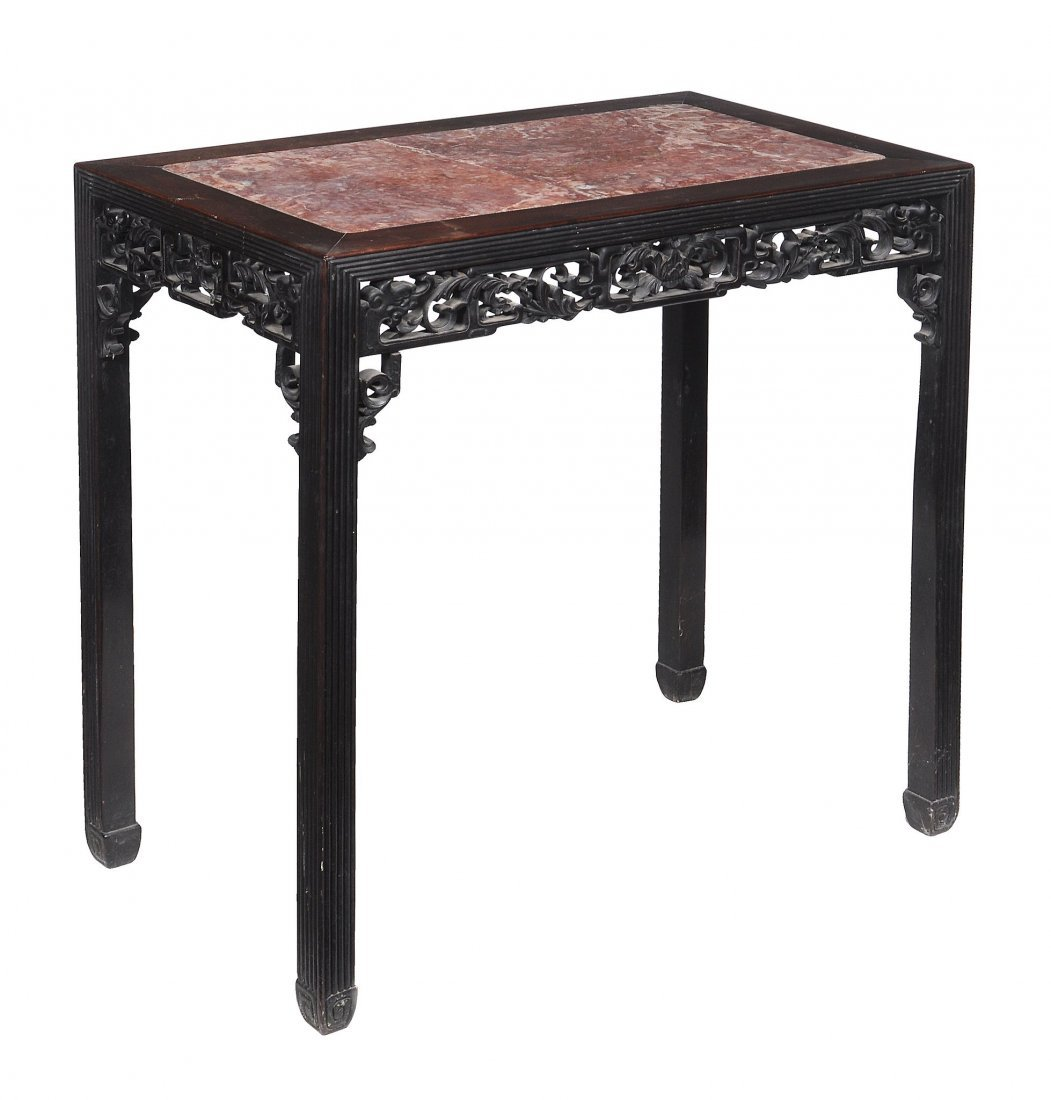 A Chinese hardwood and marble inset table, late