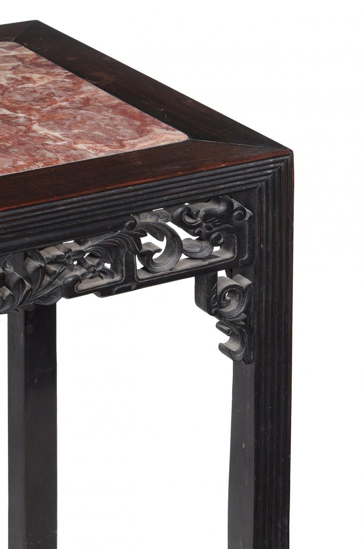 A Chinese hardwood and marble inset table, late - 2