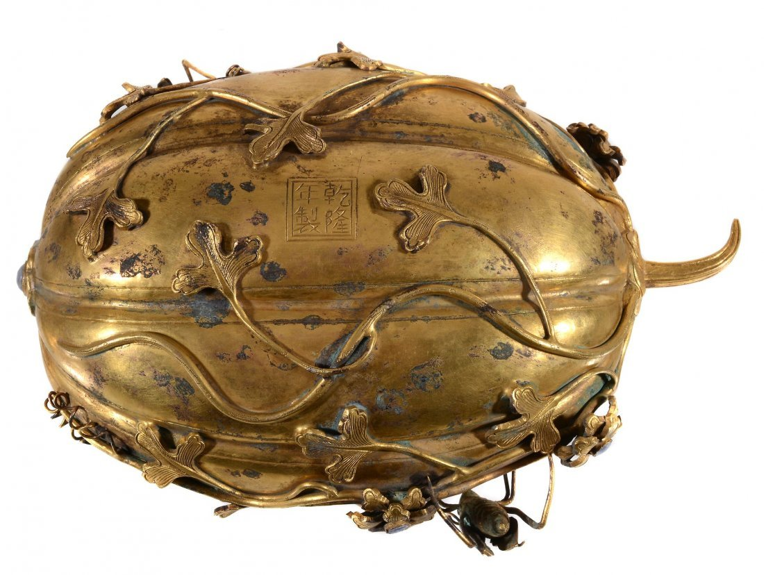 A Chinese gilt-copper 'melon' box and cover , Qing - 7