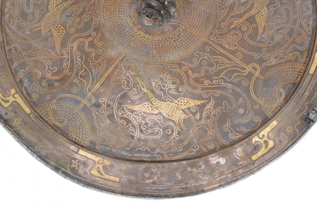 A Chinese bronze Warring States style mirror, thinly - 5
