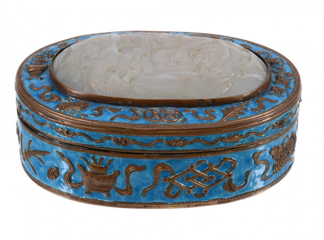 A Chinese jade-inset enamel box and cover, 19th century