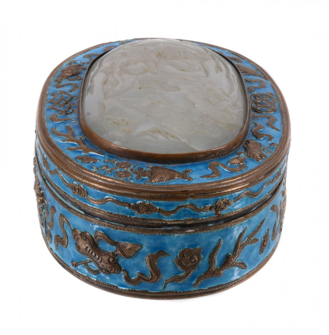 A Chinese jade-inset enamel box and cover, 19th century - 2