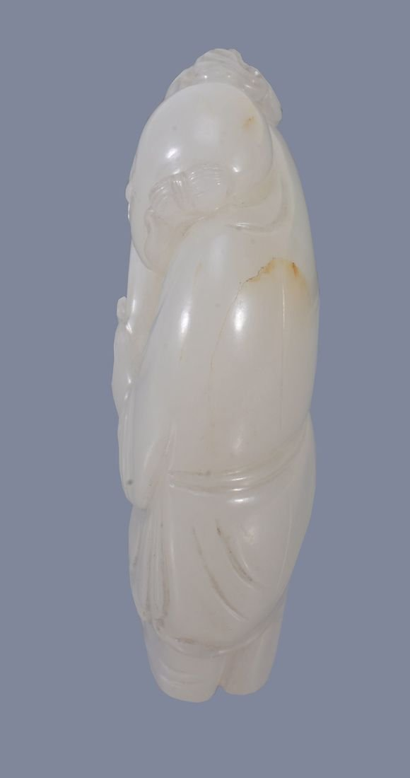 A good Chinese white jade 'Boy and Drum' pendant - 4