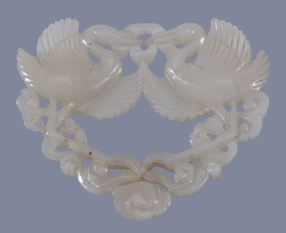 A Chinese white or pale celadon jade double 'Goose' or - 2