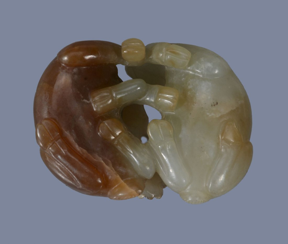 A Chinese celadon and brown jade carving of a stag and - 4