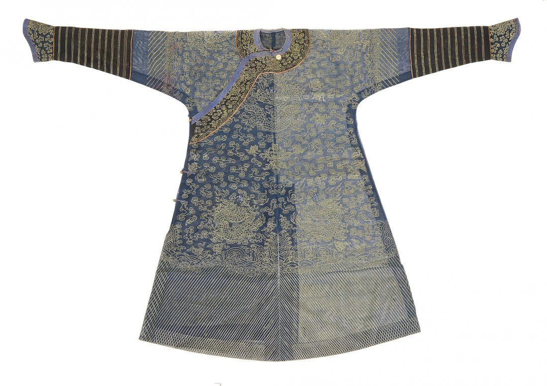 A Chinese dragon robe of blue summer weave gauze , Qing