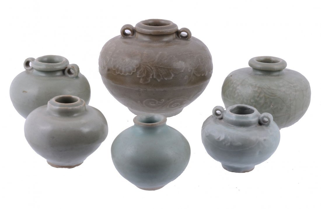 Six Chinese celadon glazed small jarlets, Song-Yuan
