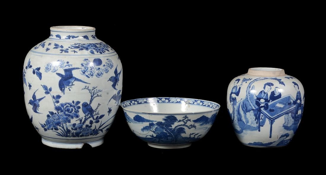 A Chinese blue and white vase , 17th century