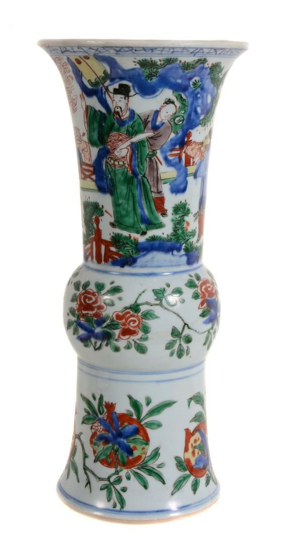 A Chinese Wucai vase, Shunzhi Period , gu , with a