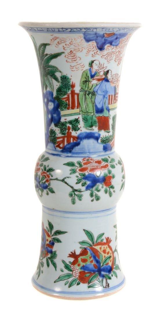 A Chinese Wucai vase, Shunzhi Period , gu , with a - 2