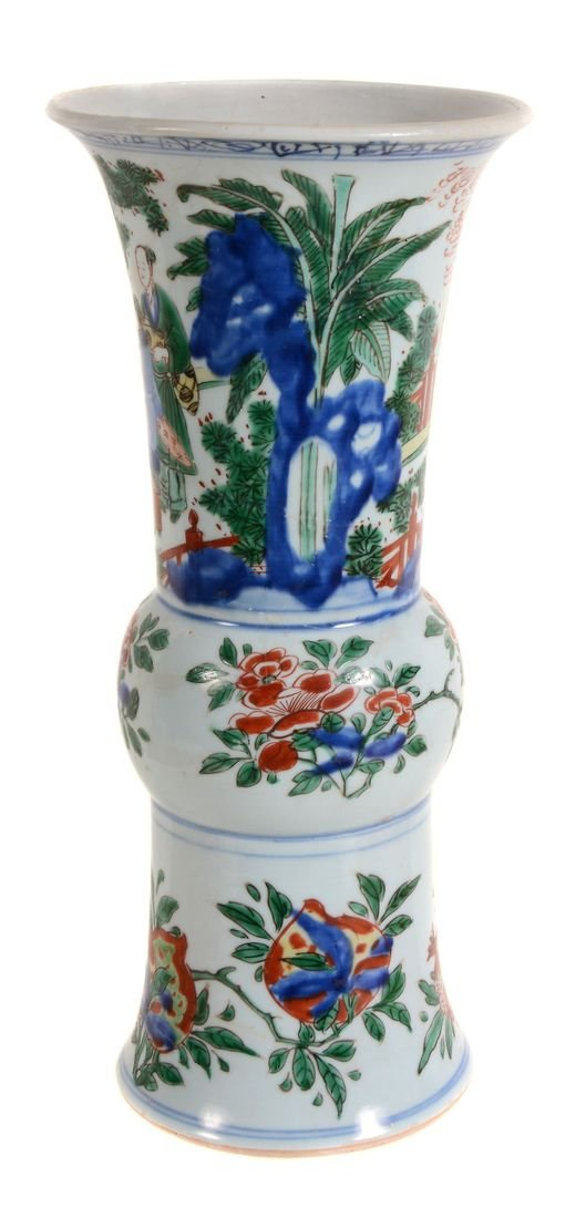 A Chinese Wucai vase, Shunzhi Period , gu , with a - 3