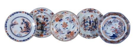 Two Chinese Imari plates  Kangxi each approximately