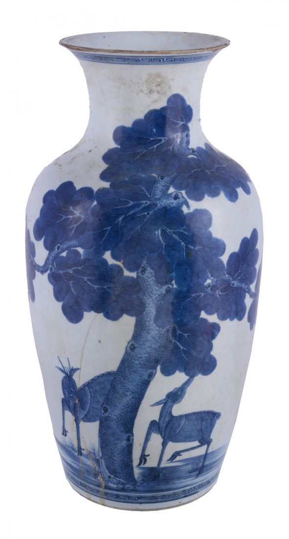 A Chinese blue and white vase , Qing Dynasty