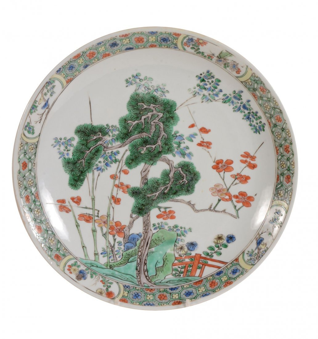 A Chinese Famille Verte dish , Kangxi, decorated to the