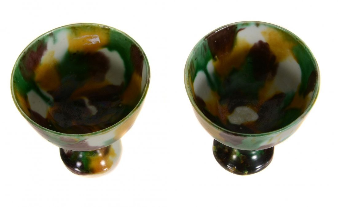 A pair of Chinese 'egg and spinach' stem cups, Kangxi, - 2