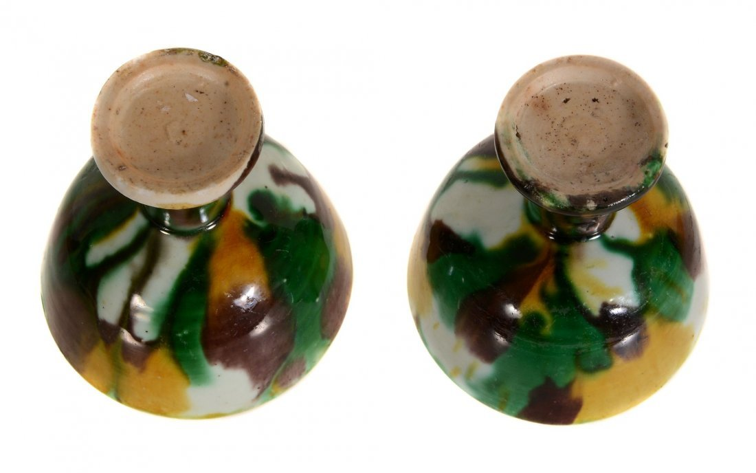 A pair of Chinese 'egg and spinach' stem cups, Kangxi, - 3