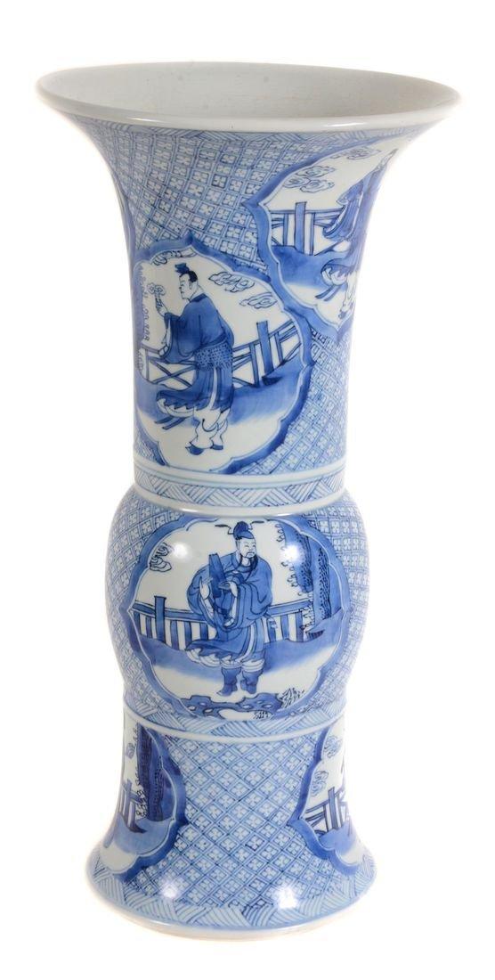 A Chinese blue and white vase , Kangxi, gu