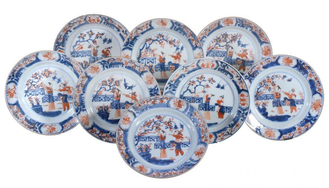 Eight Chinese Imari Plates , Kangxi, painted with