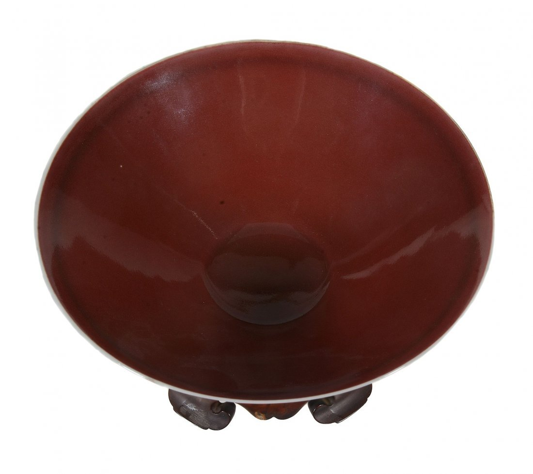 A Chinese copper-red glazed bowl, Qing Dynasty or later - 3