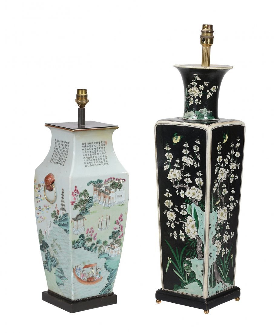 A large Chinese Famille Noire vase, of square section