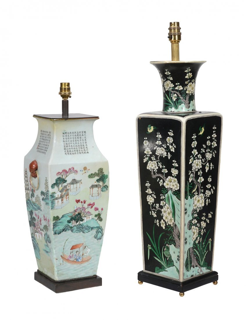 A large Chinese Famille Noire vase, of square section - 2