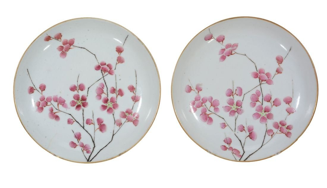A pair of Chinese Famille Rose small saucer dishes