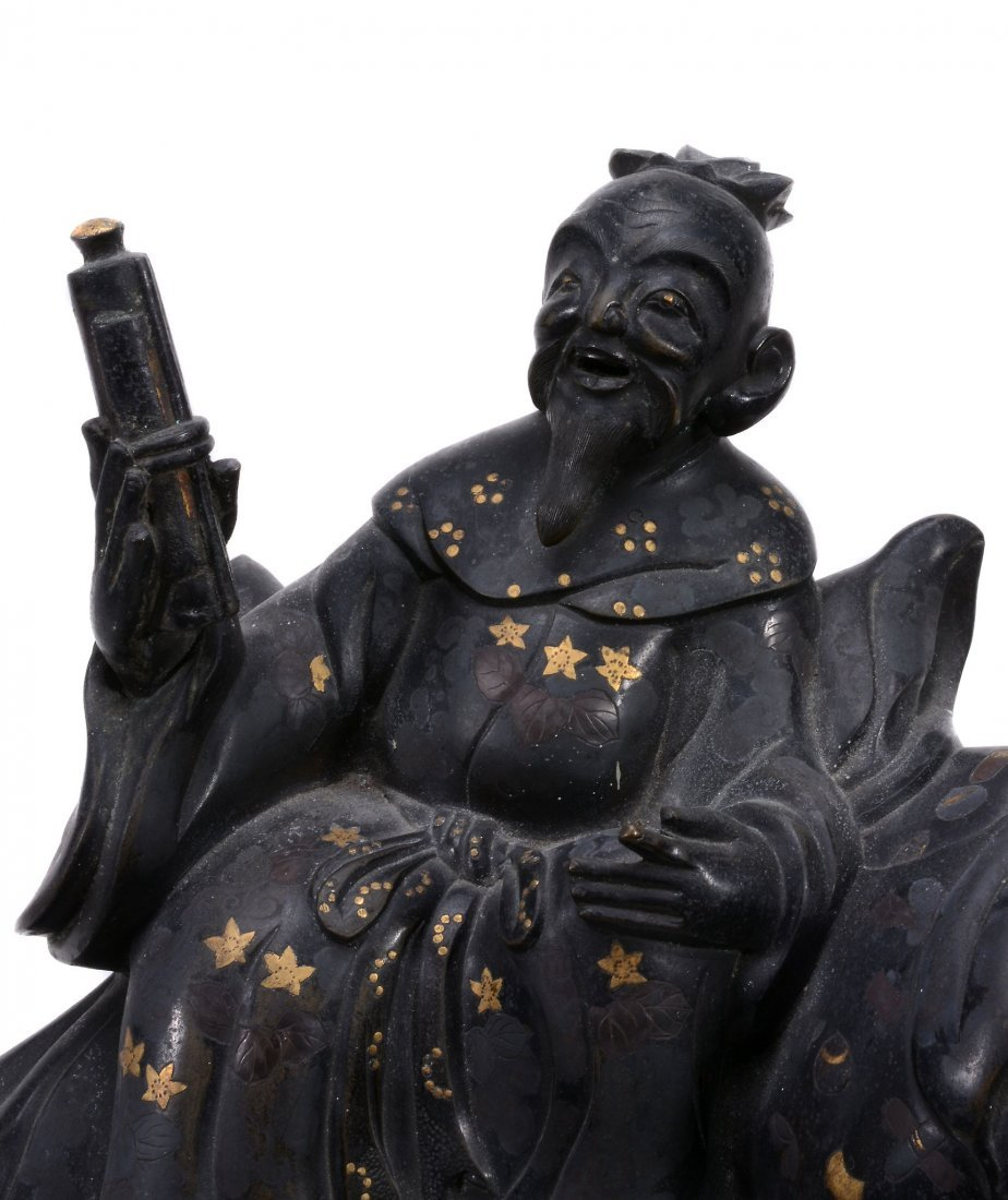A Japanese Bronze Incense Burner of a Bearded Sage, - 2