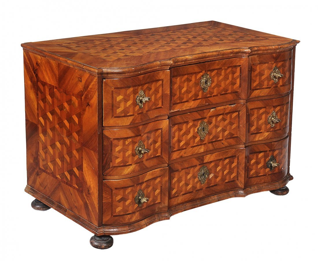 A South German walnut and parquetry inlaid chest of - 2