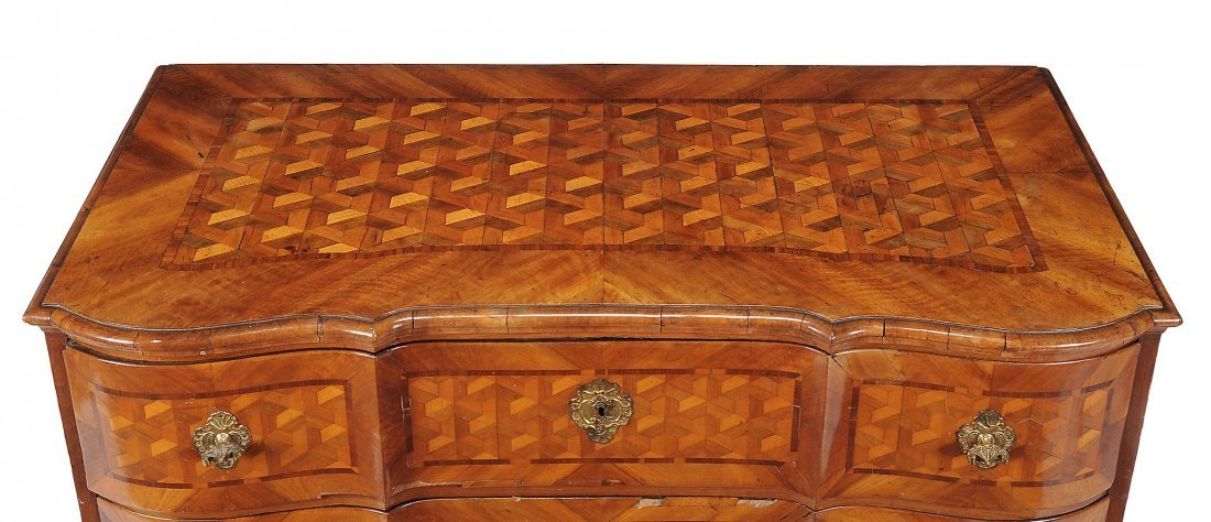 A South German walnut and parquetry inlaid chest of - 3