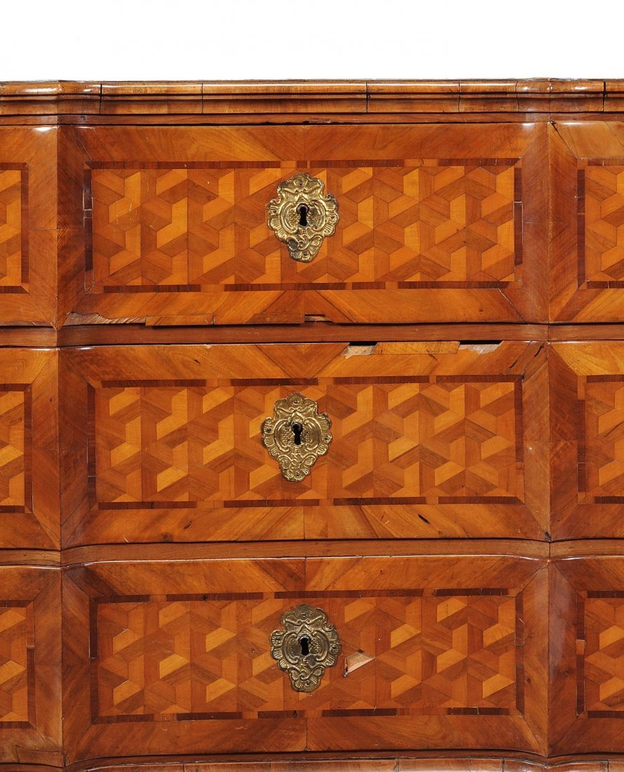 A South German walnut and parquetry inlaid chest of - 4