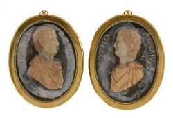 A pair of Italian Grand Tour souvenir marble and gilt