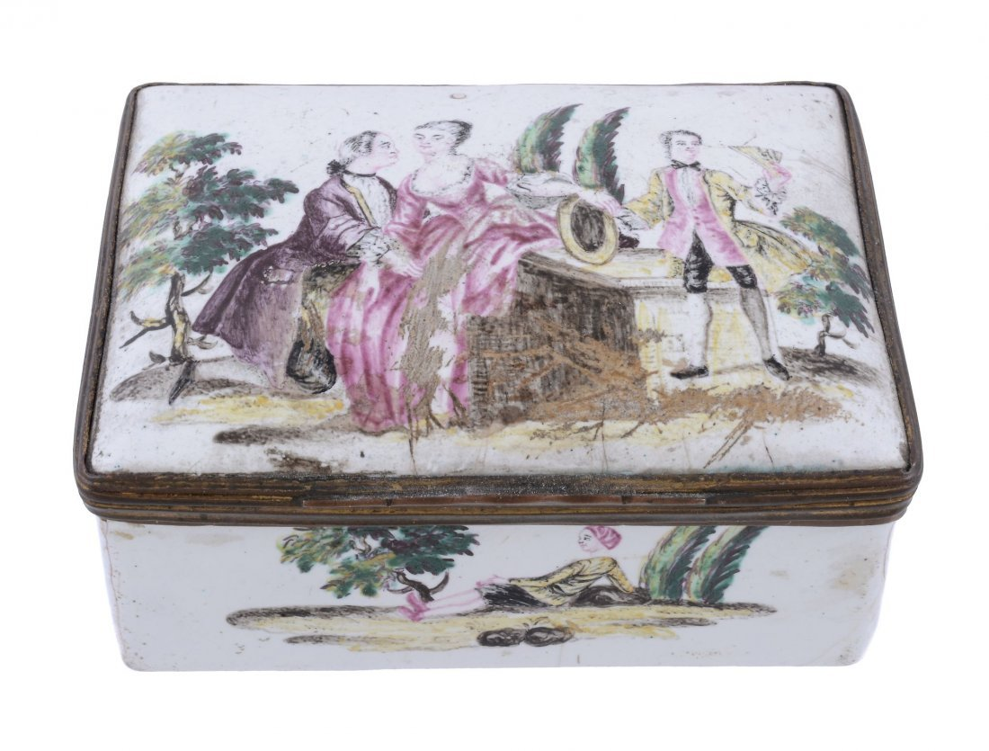 An enamel table snuff box, probably London, circa 1770