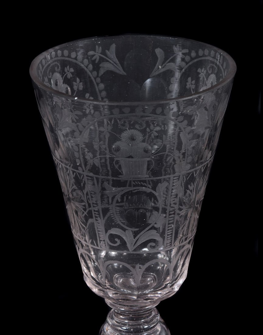 A Bohemian engraved glass goblet, mid 18th century - 2