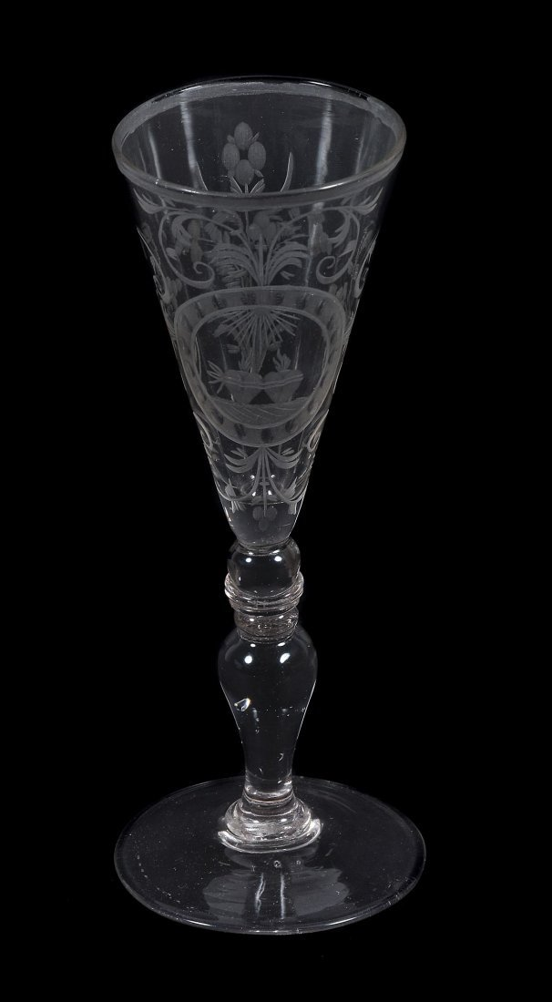A Bohemian/South German engraved wine glass, mid 18th