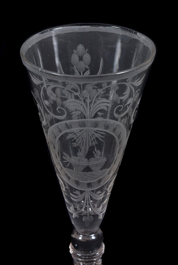 A Bohemian/South German engraved wine glass, mid 18th - 2