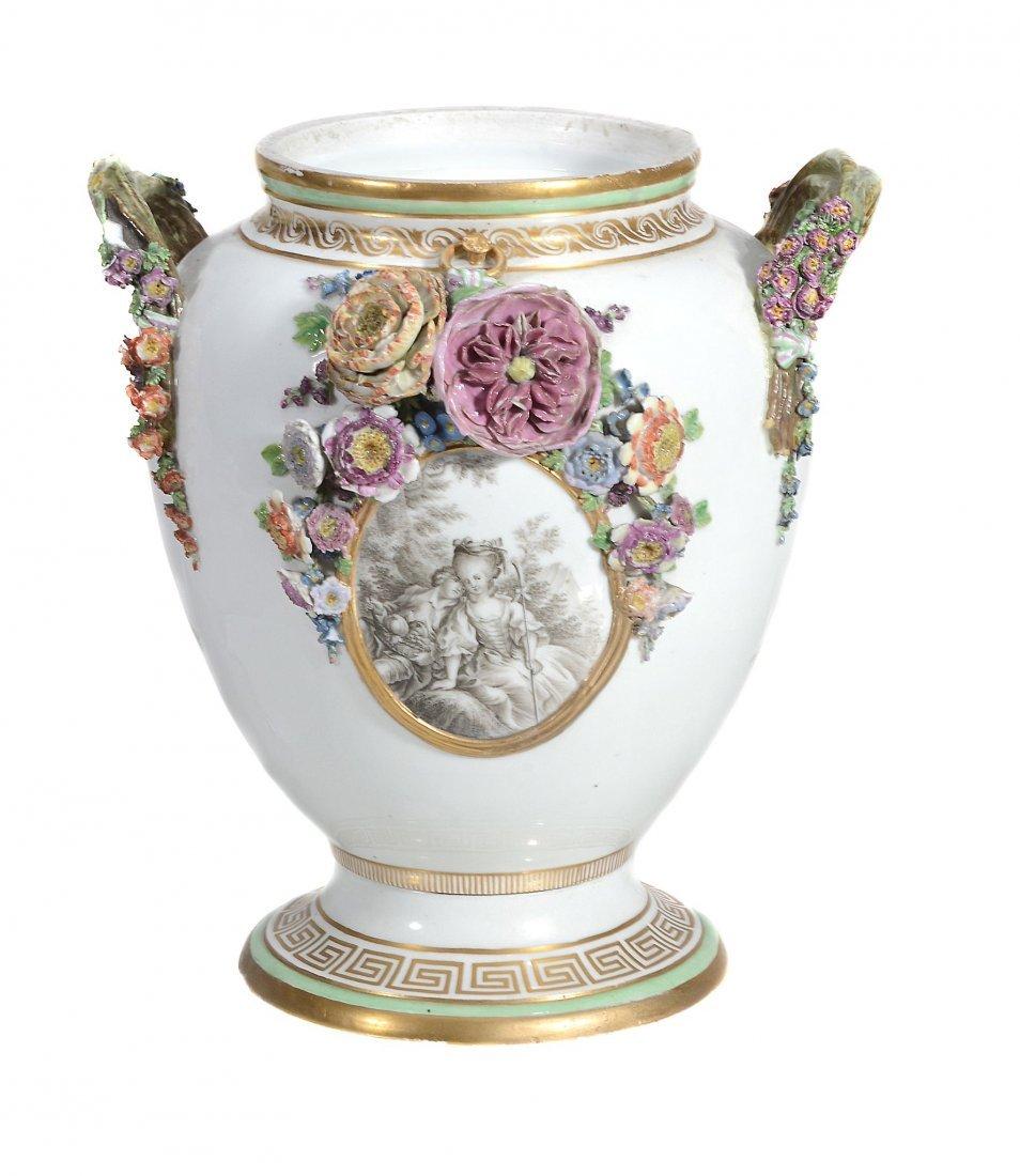 A Royal Copenhagen two-handled flower-encrusted vase ,