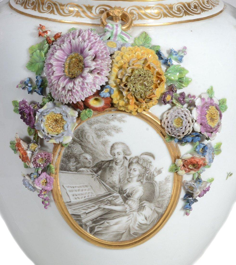 A Royal Copenhagen two-handled flower-encrusted vase , - 2