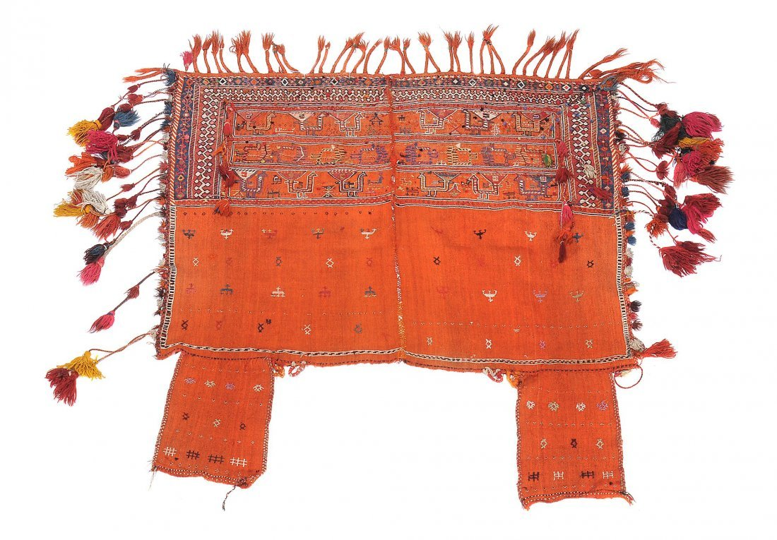 A woven tent panel, approximately 137 x 133cm overall